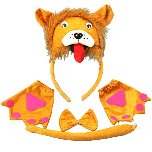 Amosfun Kinder Tier Kostüm Set Lion Ears Stirnband Fliege Schwanz Handschuhe Set Cosplay Party Leistung Requisiten Kinder Party Dekoration (Lion Ohren Und Schwanz Set Tier Kostüm)