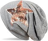 styleBREAKER Beanie Mütze mit Wendepailletten Stern Applikation, Slouch Longbeanie, Damen 04024141, Farbe:Grau meliert