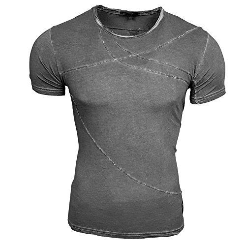 HERREN Rot Grün Blau T-Shirts Druck Größe S M L M XL XXL kurzarm Text RN15051 Anthrazit