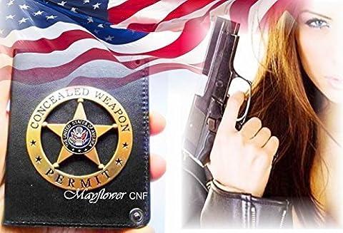 Mayflower CNF–Special Antik Gold Star in rund verdeckter Waffe erlauben Badge Prop mit Standard Pin-wieder auf eine grobe Hand Made Halter–Nice Collection, Wunderbare Badge Prop, Geschenk