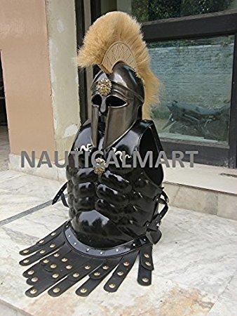 (Halloween tragbar Kostüm Mittelalter Muscle Jacke mit King Leonidas Corinthian Helm Armor)
