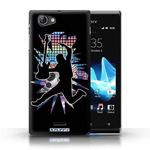 Kobalt® Imprimé Etui / Coque pour Sony Xperia J (ST26i) / Elvis Blanc conception / Série Rock Star Pose Saut Noir