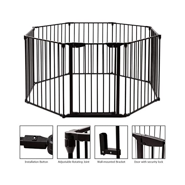 COSTWAY 6&8 Panel Baby Playpen Metal Foldable Design Multiple Use for Pet Fence, Room Divider, Yard Barrie, Fire Guard (8 Panels, Black) Costway 【Two installation modes】Our item have new 2 installation modes that it can be fully spliced as a circle or 2 sides unfurled to mounting on the wall. It can change flexibly according to your needs. It has the advantages of little space occupation, one object with multifunction, simple structure, and light weight. 【Safety door panel design】We have upgraded our door panel entirely to makes it safer. Different from the traditional straight opening door panel, our door panel has a special design that it needs to lift up while holding the switch to open it. 【Nail wall plastic parts set】Coming with a set of nail wall plastic parts, this set can meet your need to fix the item on the wall. When you want to change the installation mode, you can also leave these parts on the wall and only remove the item which will make your next installation more convenient. 4