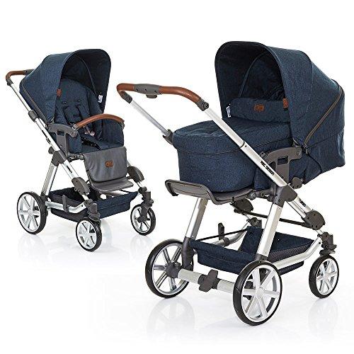 ABC Design Kombi-Kinderwagen Set Turbo 4 - inkl. 3in1 Tragewanne für Neugeborene, Liegefunktion, ausklappbarem Sonnenverdeck, Schieber höhenverstellbar, Sitz drehbar, große Räder - Admiral