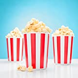 12x Popcorn Eimer rot-weiß gestreift - Popcorn Box für Kinoabend, Hollywood Party & Co - PARTYMARTY GMBH®