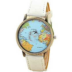 Mini World Unisex Watch World Map Moving Aeroplane Second Hand Analogue Quartz Bronze/White