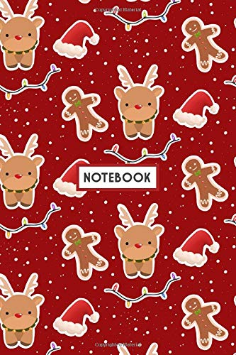 Notebook: Cute Reindeer Snow Gingerbread Man Red, Wide Ruled 110 pages (6.14