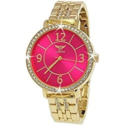 NY London Designer Rhinestone Ladies 'Watch Women Watch - Pink + Watch Box