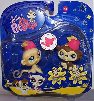 Hasbro Littlest Pet Shop - Pet Pairs - 2-Pack - Happiest - Affe # 834 & Affe #835 - jeweils mit Hut - OVP