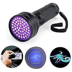BESTSUN 51 LED UV lampe de torche Lampe à Poche UltraViolet pour repérer les Scorpions et les punaises, la distinction de contrefaçon et A/C fuites et Pet Stains UV détecteur 3 Piles AA