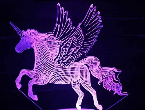 HNXDP Einhorn pferd 3d nacht lampe acryl laser stereo illusion 7/16 farben souvenir geschenke schöne schlafzimmer lichter 1 stück