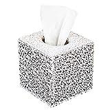 ciaoed Tissue Box PU Pelle Boxe Kleenex fazzoletti titolare per Home Office Autore (argento intaglio)