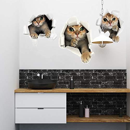 JXFFF Neue 3D Loch Kätzchen Wandaufkleber Cartoon DREI Kätzchen Bad Kühlschranktür Aufkleber Dekoration Wand Stickers60x45cm - Bad Kätzchen
