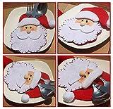 Kettchen 4 Stücke Weihnachtsmann Weihnachten Deko Bestecktasche Besteckbeutel Besteckhalter für Weihnachten