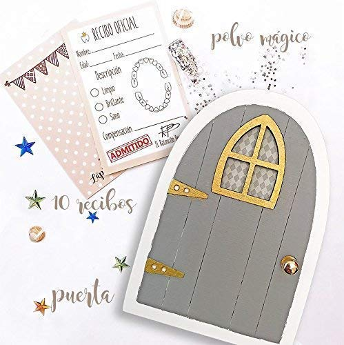 Puertas del ratoncito Pérez gris, recibos oficiales y polvo mágico