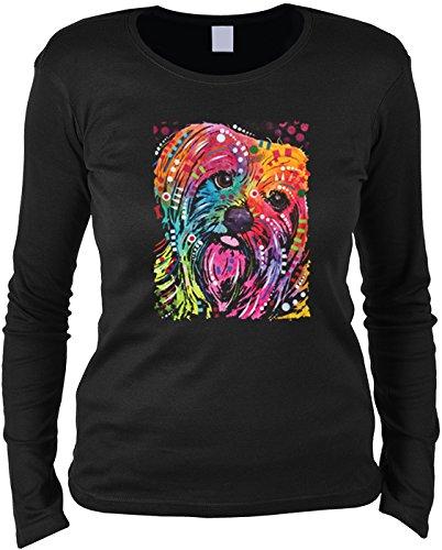 modisches Hunde Damenshirt mit Hunde Motiv: York II - Mädchen Frauen Geschenk Weihnachten Geburtstag Rundhals Mama Schwarz