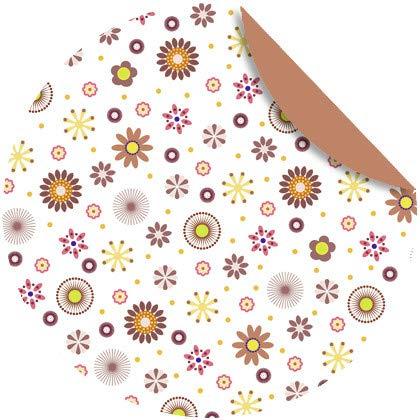 Kreativpapier - Origamipapier - Florentine Mille fleurs braun/gelb - 65 Blatt - 10 cm, rund - Blatt De Fleur