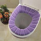 2Badezimmer Weich Dicker Wärmer dehnbar waschbar Stoff WC-Sitz-Pads, 2 violett