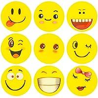 ECENCE 24x Goma de borrar con emoji goma de borrar con smiley sonrisa detalle para cumpleaños infantil 13020206