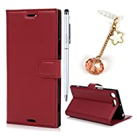 Sony Xperia XZ Premium Case, Sony XZ Premium Case Wallet MAXFE.CO Litchi Patterned PU Leather Case Premium Shockproof Protective Flip Case for Sony XZ Premium with Magnet, Hand Strap & One Touch Pen & One Dust Plug, Red
