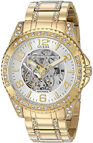 GUESS Men's Stainless Steel Oversized Casual Crystal Watch, Color: Gold-Tone (Model: U1076G2)
