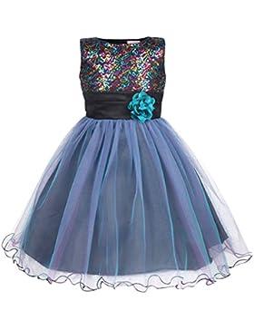 d74165b3d575 JerrisApparel Piccola ragazza Multicolore Scintillante Paillettes Fiore  Partito Vestito
