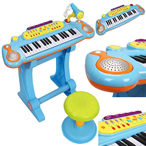 37 Key Kids Electronic Keyboard Piano Set with Microphone & Stool Musical Toy (Blue)