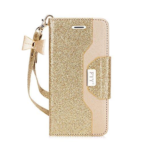 fyy iPhone 6S Schutzhülle, iPhone 6Fall, [Make-up Spiegel] Premium PU Leder iPhone 6S/6Stiftbox Wallet Tasche mit Kosmetikspiegel und Gurt, gelb