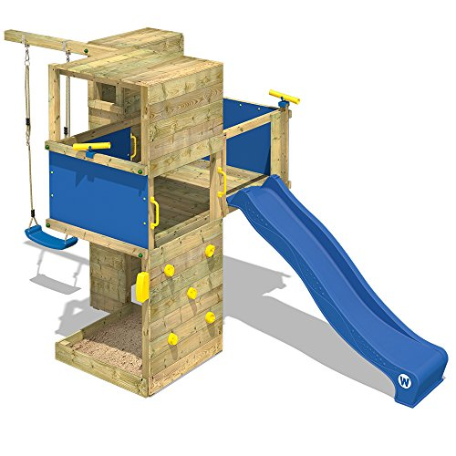 *WICKEY Spielturm Smart Cube Kletterturm in modernem Design Spielhaus Holz Garten mit Schaukel, Rutsche, Kletterwand, Sandkasten und Holzdach, blaue Rutsche + blaue Plane*