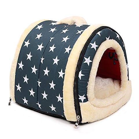 BlackRomance Hundebett Haus, 2 in 1 klappbar Pet House und Sofa, Hund Katze Kaninchen Kissen, Plüsch Pet Weiches Warmes Nest Höhle mit abnehmbarer für kleine und mittelgroße (Auswahl Innen Anhänger 1 Licht)