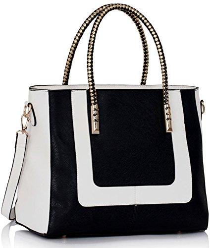 LeahWard® Damen Groß nett Groß Handtaschen Hochschule Arbeit Tote Schultertaschen 318 (Schwarz/Weiß) (Handtasche Chloe Weiß)