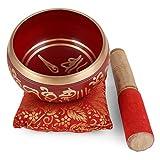 """Zap Impex ® Tibetaanse meditatie Om Mani klankschaal/kussen/Mallet""""4 inch rood"""