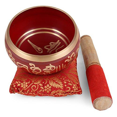 Zap Impex ® Tibetische Meditation Om Mani Klangschale/Kissen / Mallet