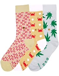 The Moja Club - Women's Quirky, Funky Socks ( Crew Length) - [Pack of 3] - Designs = (White Weed , Pink Patterned ,Aquatic )