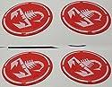 55mm rot Tuning Effekt 3d 3m geharzt Radkappen Nieten Caps Aufkleber Stickers für Alufelgen X 4Stück