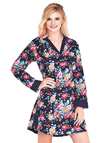 Mio Lounge Sally Dark Blue and Wine Floral Polka Dot Soft Brushed Cotton Nightshirt ML16C2NS M-L (Nightshirt Polka Dot)