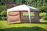 Sekey Pavillon 3 x 3 m, Faltpavillon einsetzbar als Gartenpavillon, Party- und Festzelt, Camping- und Festival-Zelt, Gartenmöbel , Taupe, mit zwei wasserdichten, seitlichen Wänden,Gartenlauben
