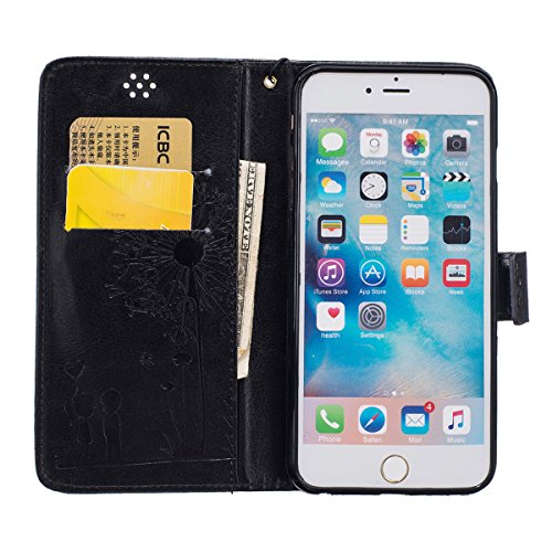 iPhone 6 Coque, iPhone 6S Coque, Lifeturt [ Blanc ] [book-style] Flip Case Coque en PU Cuir Housse de Protection Étui à rabat Case Cover Ultra Slim Portefeuille PU Cuir avec stand de Carte Slots Suppo E02-Noir2029