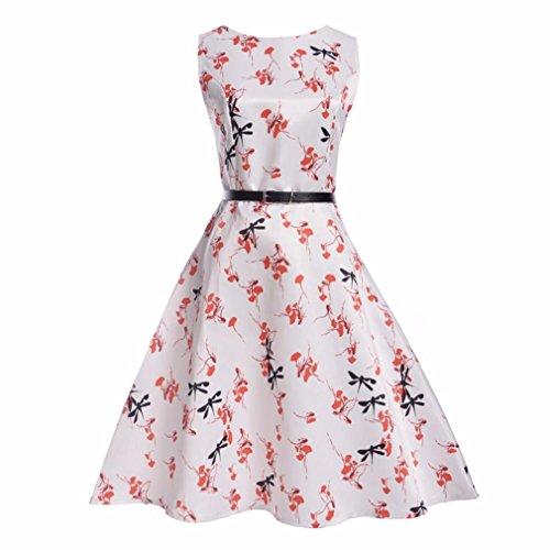 TWIFER Retro Mädchen Blumendruck Hochzeit Sommer Prinzessin Kleid mit Gürtel Kleidung Kinder (Mädchen Hello Für Kitty Sweatshirt)