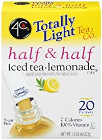 4C Totally Light Tea 2 Go Half & Half, Iced Tea Lemonade, Sugar Free, 20-Count (Pack of 3)