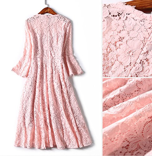 Bigood Femme Vogue Robe Manches de Trompette en Dentelle See-through Rose