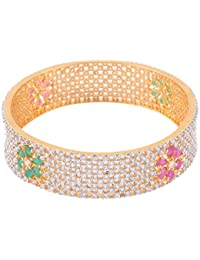 Trisha Jewels Rang Collection 24 Karat Gold Plated With Cubic Zirconia Stones Bangle For Women Size 2/8
