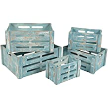 ts-ideen Set 5 cassette decorative Porta Oggetti Libri Dischi in legno stile Shabby rustico