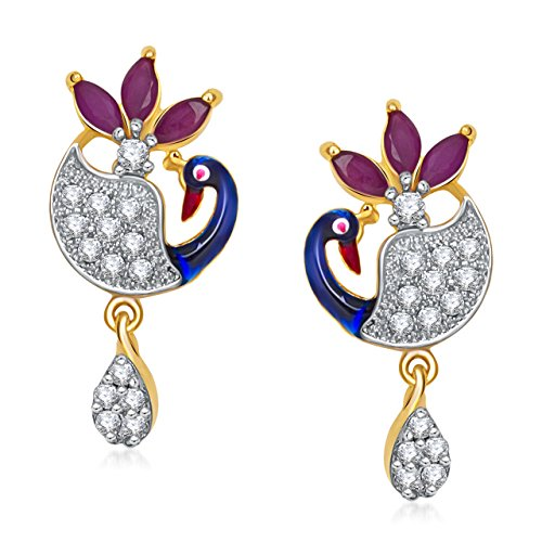 MEENAZ PEACOCK MEENAKARI EARRING GOLD & RHODIUM PLATED EARRING 382