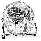 """oneConcept • Metal Blizzard XXL • Ventilator • Bodenventilator • Standventilator • leise • Chrom • 46 cm (18"""") Rotorblätter • Metallkorb • 120 Watt • neigbar • 3 Geschwindigkeiten • Tragegriff • Kabelaufwicklung • rutschfest • sicherer Stand • silber"""