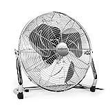 OneConcept Metal Blizzard XXL • Ventilator • Bodenventilator • Standventilator • leise • Chrom • 46 cm (18
