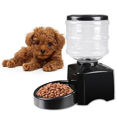 Befied 5.5L Futterautomat mit Ton-Aufnahmefunktion Automatisch Futternapf Haustier Futterspender Für Hund/Katze Schwarz