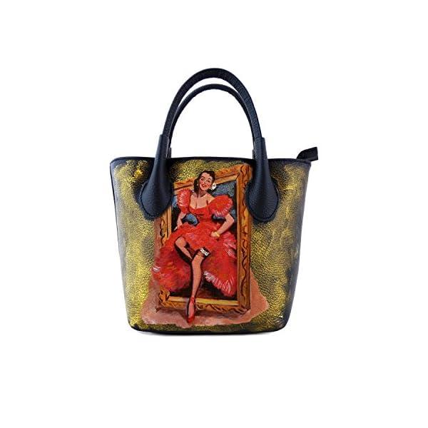 Hand-painted genuine leather shoulder bag – PICTURE GIRL - Women Bag, Hand Bag, Genuine Leather, Made in Italy, Painted Leather, Handbag and Shoulder Bag, Craftsmanship - handmade-bags