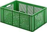 Profi Produkte Vertrieb - 3 Stück - Kartoffelkiste Obstkiste Stapelbox Plastikkiste Aufbewahrungsbox Gemüsekiste Kunststoffbox Transportbox Apfelkiste grün 60 x 40 x 26 cm