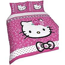 Hello Kitty - Juego de Fundas nórdico/edredón reversible Modelo Sommerwind para niñas (Cama Doble/Rosa)